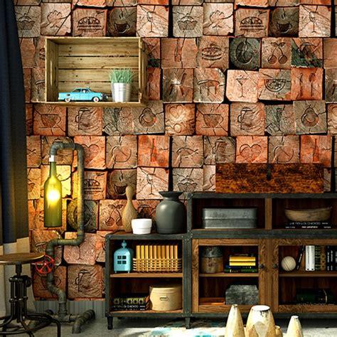 wallpaper personality vintage imitation wood texture