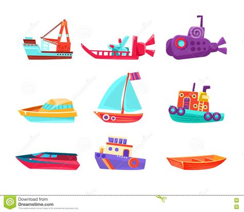 toy boats cartoon water transport toy boats set stock vector illustration