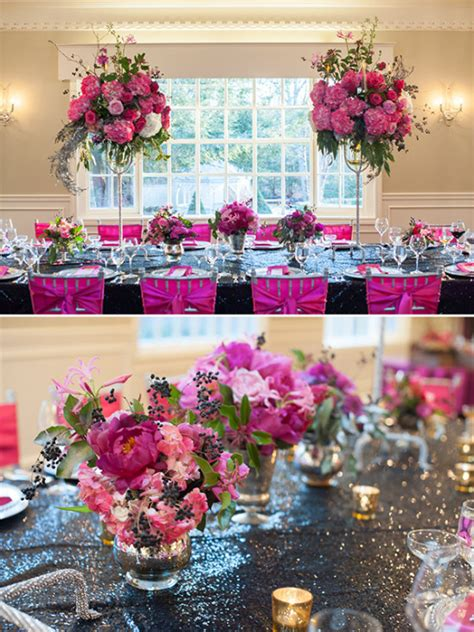 magenta  black whimsical wedding