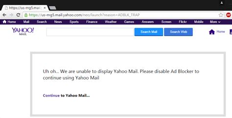 yahoo email block yahoo says blocking ad block users from their email is