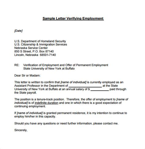 Proof Of Employment Letter For Apartment Employment Verification Letter 7 Documents In Pdf Word Sle Templates