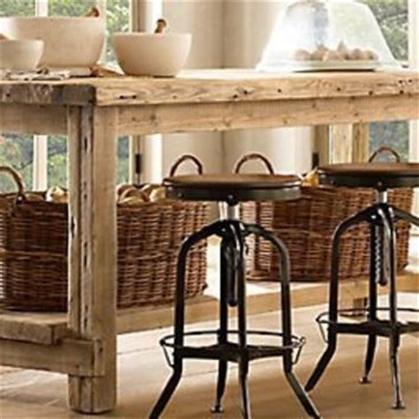 salvaged wood kitchen island from restoration hardware