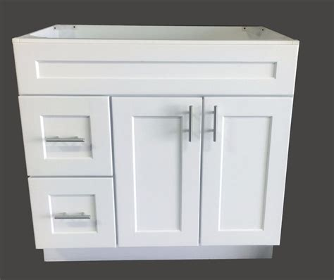 new white shaker single sink bathroom vanity base cabinet