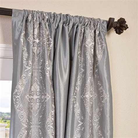 faux silk embroidered curtains buy chai silver embroidered faux silk taffeta curtain
