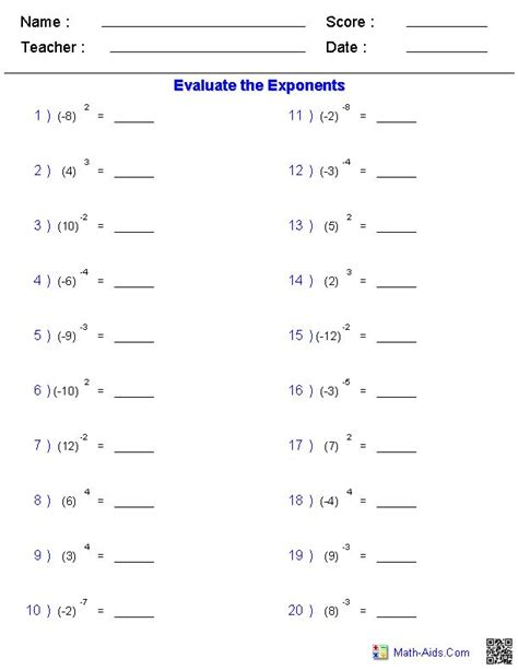 Math Worksheets High School maths worksheets for high school on exponents