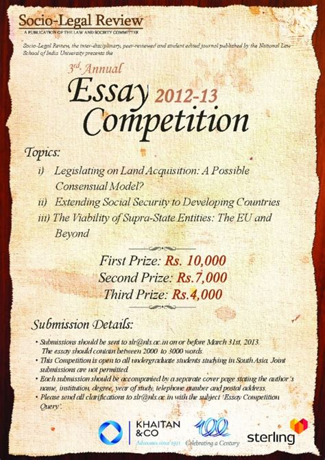 National Essay Writing Competition by Socio Review Nlsiu Third Annual Essay Competition Student At