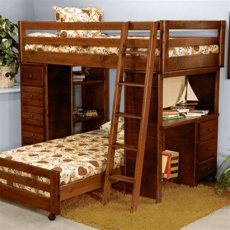 white wooden bunk bed with pink corner desk plus shelves