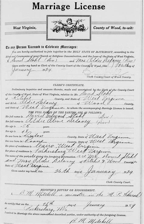 Wood County Marriage Records Delaney Addie Olive