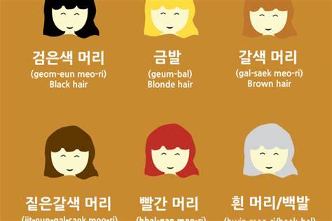 vocabulary hair colors in korean learn korean learn basic korean words vocabulary with