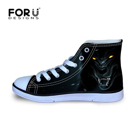 high shoes for brand high top canvas shoes for cool wolf pattern