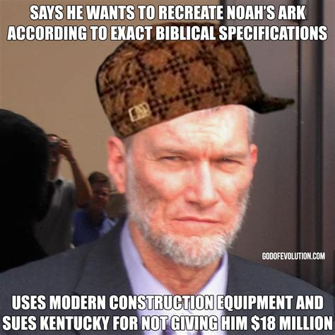 Ham Meme - a meme about ken ham in a hat god of evolution