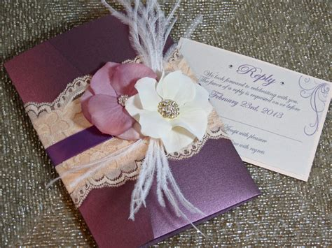 Handmade Lace Wedding Invitations - vingage lace wedding invitation plum blush