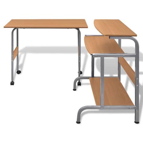 Adjustable Computer Desk Computer Desk Adjustable Workstation Brown Vidaxl