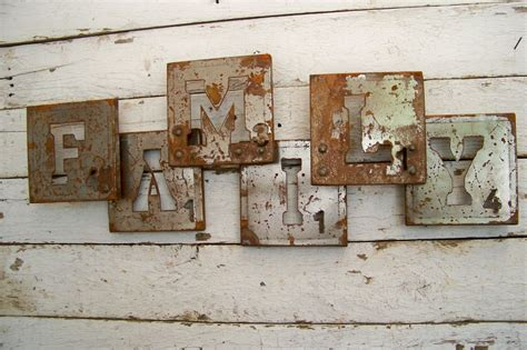 Rustic Primitive Home Decor by Vintage Industrial Style Family Sign Shabby Primitive