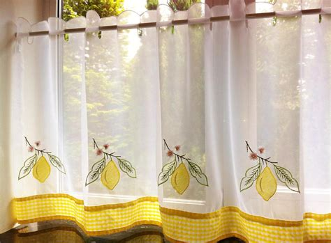 Cafe Curtains For Kitchen Yellow Lemon Voile Cafe Net Curtain Panel Kitchen Curtains Many Sizes Ebay