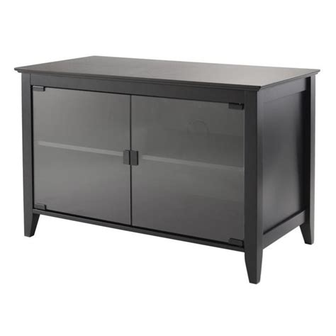 Black Tv Stand With Glass Doors Tv Stand Glass Doors In Black 20332