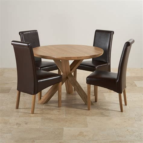 real oak dining set table 4 brown leather