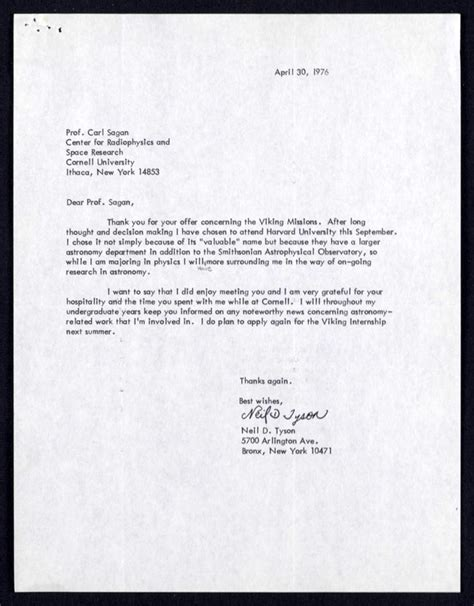 Request Letter Sle For Cross Enrollment A Neil Degrasse Tyson S Letter To Carl Sagan