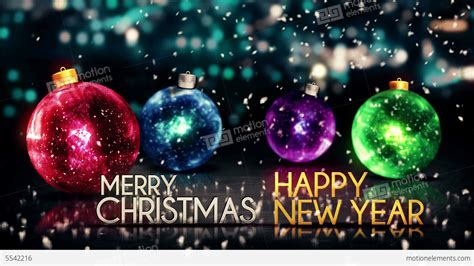 merry christmas happy  year colorful baubles ba stock animation