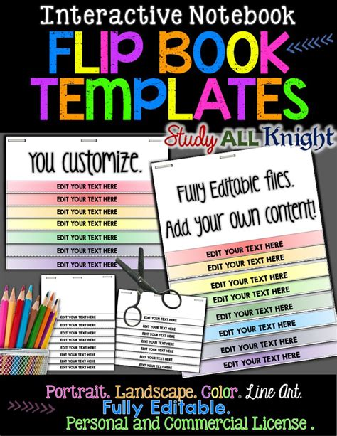 Editable Flip Book Templates Interactive Notebooks Personal And Commercial Use Flip Books Flip Book Templates For Teachers