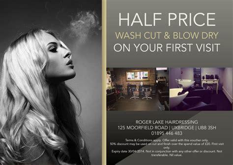 hair salon flyer offering discounts hair stylist