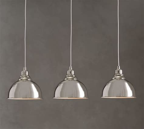 Pb Classic 3 Light Pendant Metal Bell Pottery Barn Metal Bell Pendant Light