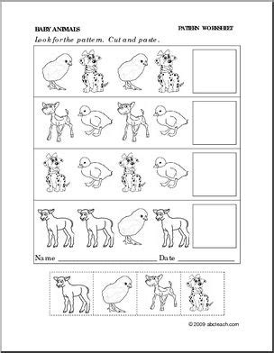 animal pattern worksheets for kindergarten worksheet baby animals follow the pattern preschool