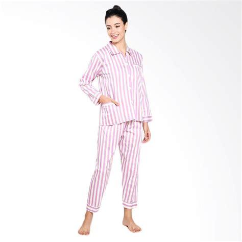 Setelan Baju Celana Tidur Panjang Piyama Wanita Katun Jepang Import jual zone sport milea stripes piyama setelan baju tidur wanita light purple harga