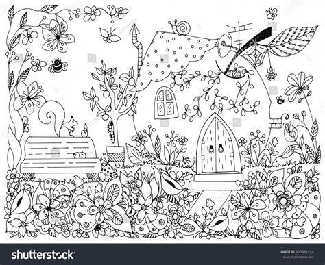 doodlebug park vector illustration zentangl park garden bench stock