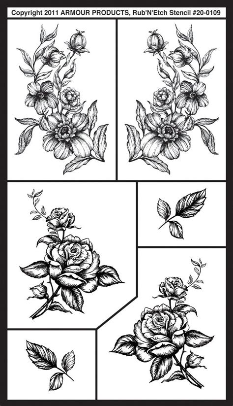 free glass etching stencils floral rub n etch