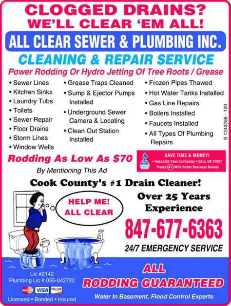 all clear sewer plumbing inc yellowbook