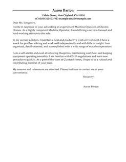 machine operator cover letter exles warehouse
