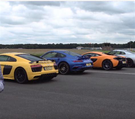 audi r8 vs porsche 911 turbo top gear drag race mclaren 570s vs porsche 911 turbo s