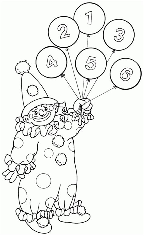 clown with balloons free printable coloring pages