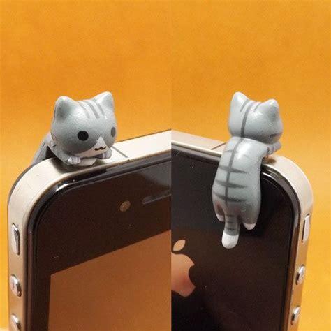 Dust Cat adorable grey hanging cat kitten anti dust 3 5mm phone accessori