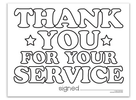 thank you card template for members of armed services thank you for your service vale design coloringpages