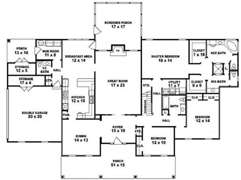 4 Bedroom Ranch Floor Plans 5 Bedroom 3 Bath One Story House Plans Rustic Bedroom Bath
