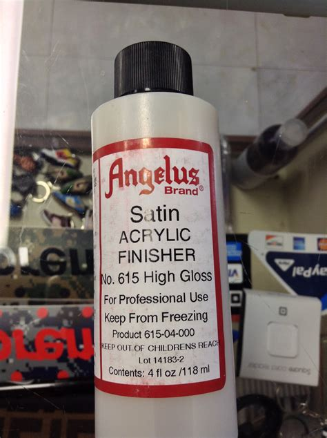 angelus paint gloss angelus acrylic finisher satin high gloss acrylic leather