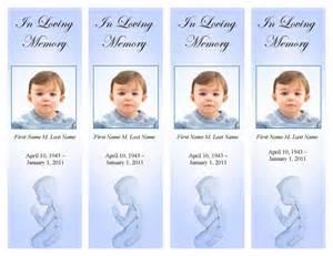 memorial bookmarks template free funeral program templates memorial bookmark blue