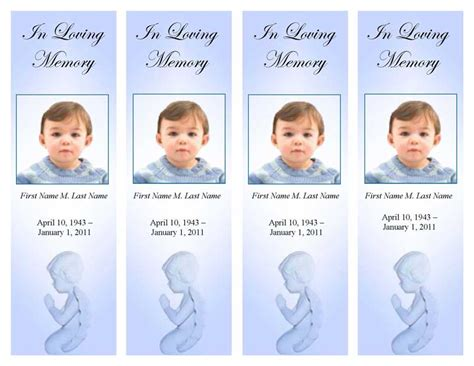 memorial bookmarks template free funeral program templates memorial bookmark blue