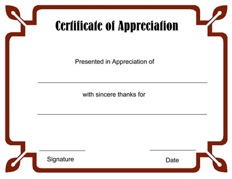 certificate of appreciation template best photos of free printable blank certificate