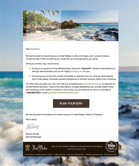 Transactional Hotel Emails Guestfolio Hotel Crm Hotel Pre Stay Email Template