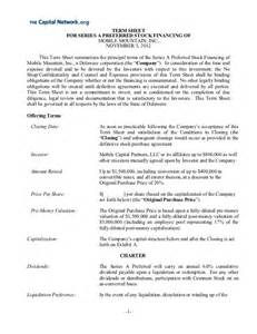 Venture Capital Term Sheet Template by Term Sheet 11 14