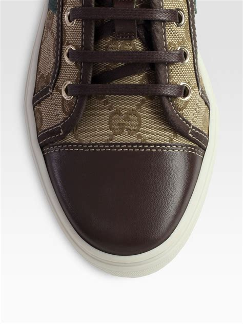 Gucci Color Center Leather Brown gucci gg canvas leather lace up sneakers in brown lyst