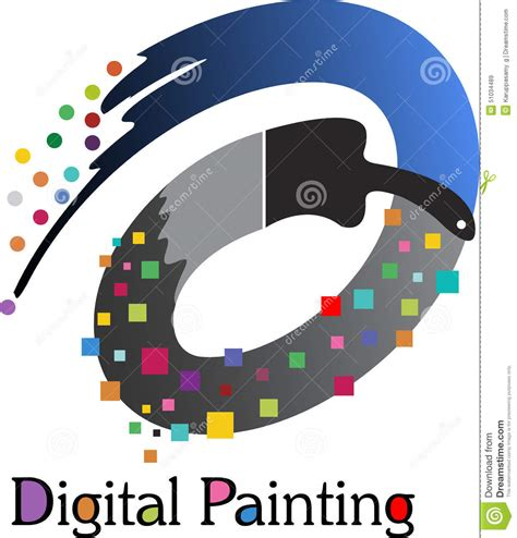 How To Draw House Plans On Computer Digital Painting Logo Stock Vector Image 51034489