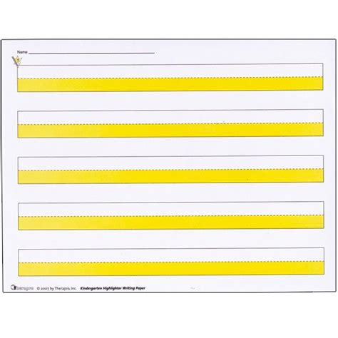 printable highlighted writing paper kindergarten highlighter writing paper package of 50