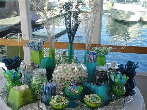 Quinceanera Candy Buffet Green And Blue Buffet