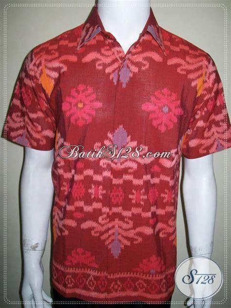 Kemeja Batik Endek Pria pakaian tenun ikat pria lengan pendek unik elegan dan
