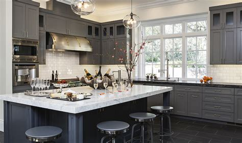 Grey Kitchen Cabinets With Black Countertops Leathered Granite Countertops Contemporary Kitchen