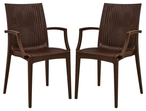Leisuremod Modern Weave Design Mace Indoor Outdoor Chair Tropical Dining Chairs